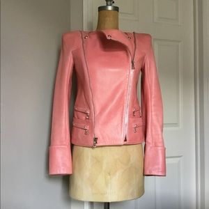 Balmain Bubblegum Pink Lambskin Leather Jacket